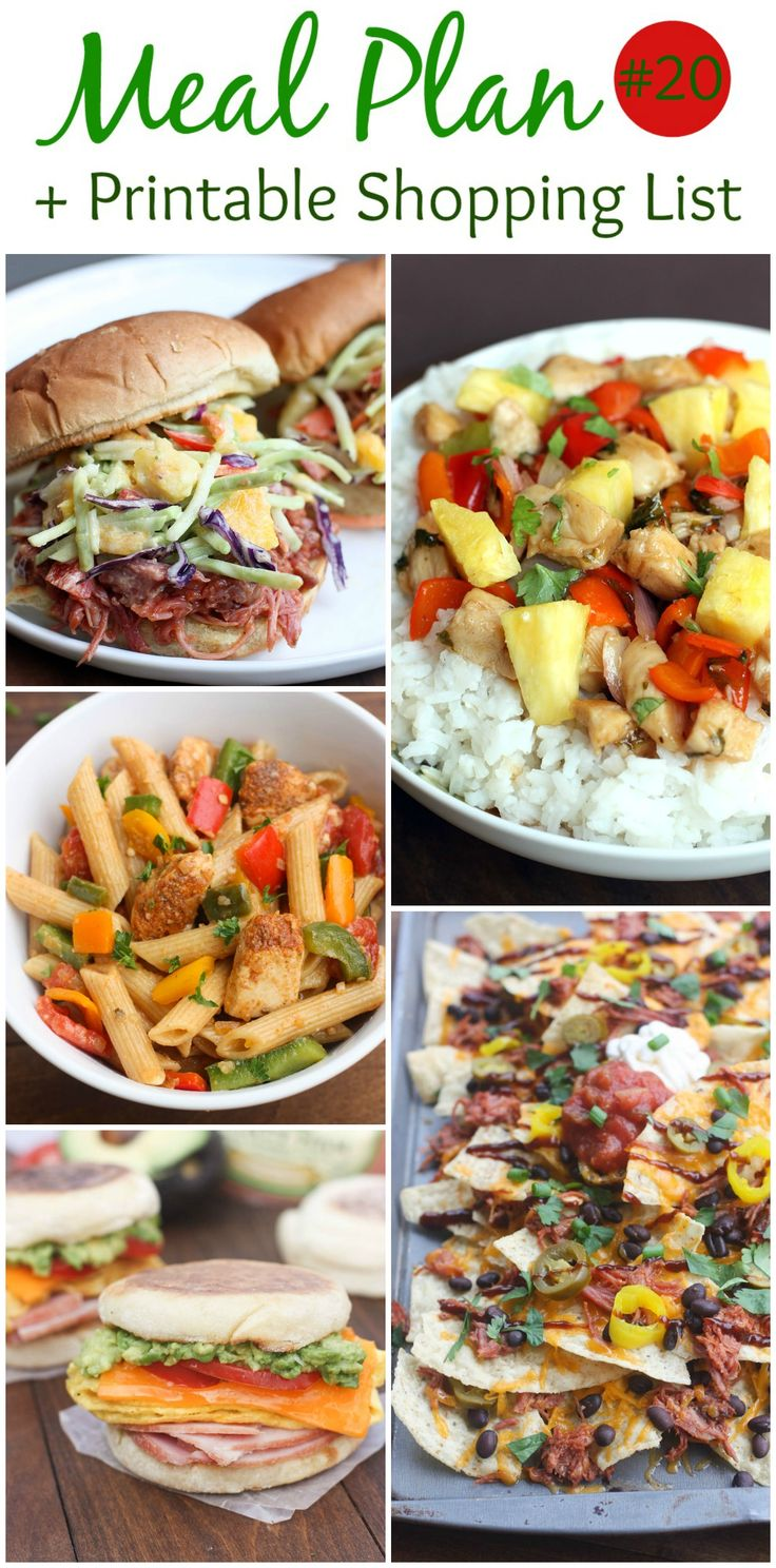 An EASY (family-friendly) meal plan that includes BBQ Pulled Pork Sandwiches, Sweet and Spicy Chipotle Chicken Bowls, Chicken Fajita Pasta, Cheesy Egg, Avocado and Ham Breakfast Sandwiches, and BBQ Pulled Pork Nachos! Free printable shopping list is included! The hardest part of creating a meal plan is finding the ideas, and creating a shopping list,...Read More »