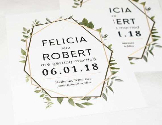 b07dd032bfcfa Rustic Greenery Save the Date Card, Botanical Save-the-Date Cards ...