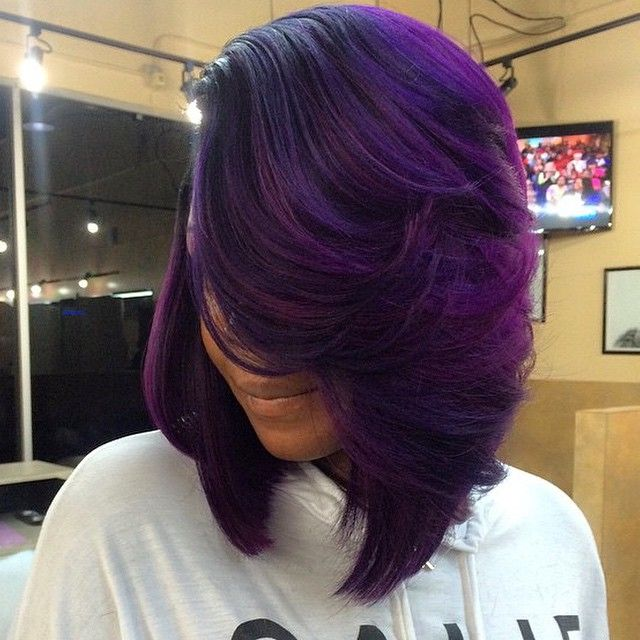 STYLIST FEATURE| Love this #purplepassion bob✂️ done by #Houston celebrity stylist @jocassodastylist This color is bomb #VoiceOfHair