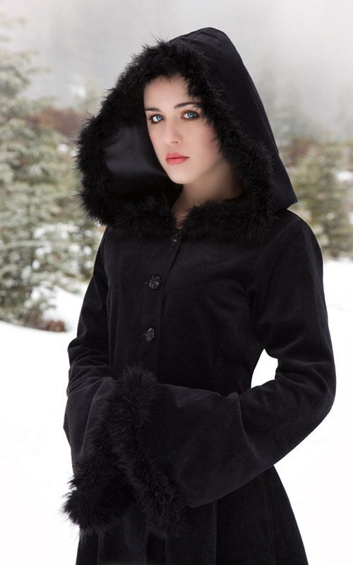 The beautiful Anastasia Coat is made from a high quality 100% cotton velvet, fully lined in satin. The coat is exquisitely tailored, it fits neatly to the body then flares softly from the waist. The waist shaping is further enhanced by a corset style lace up detail at the back. The deep hood and drop trumpet sleeves are trimmed with a soft faux fur.  Sizing information can be found here: http://www.thedarkangel.co.uk/pages/sizing  Made to measure option is available, pleas...