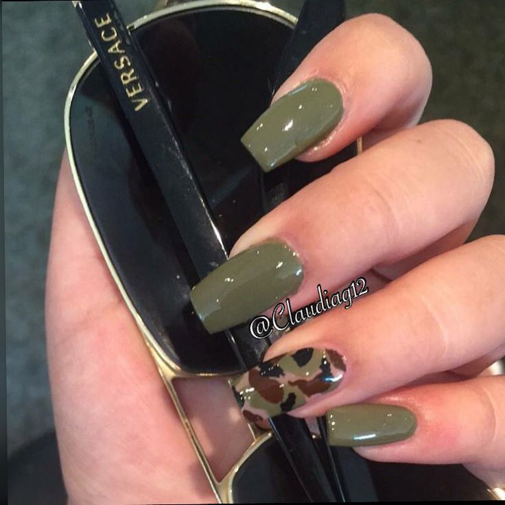 Olive Green Coffin Nails