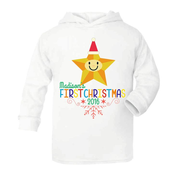 Babies First (1st) Christmas - Star Lightweight baby hoodie personalised for babies - Funny Baby hoodies by Mint Doodles by MintDoodles on Etsy
