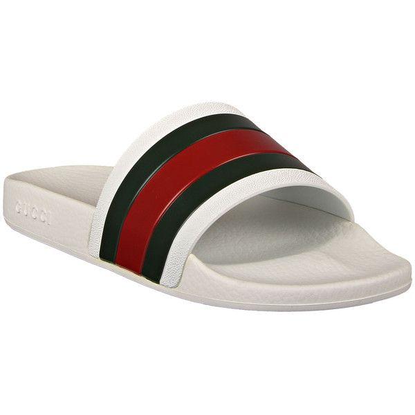 Gucci White Rubber Slide Sandals (475 BRL) ❤ liked on Polyvore featuring men's fashion, men's shoes, men's sandals, mens wide sandals, mens wide width shoes, mens white shoes, mens wide width sandals and mens wide shoes