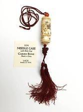 Oriental Carved HORSE BONE NEEDLE CASE Needle Storage Needlepoint & Stitching