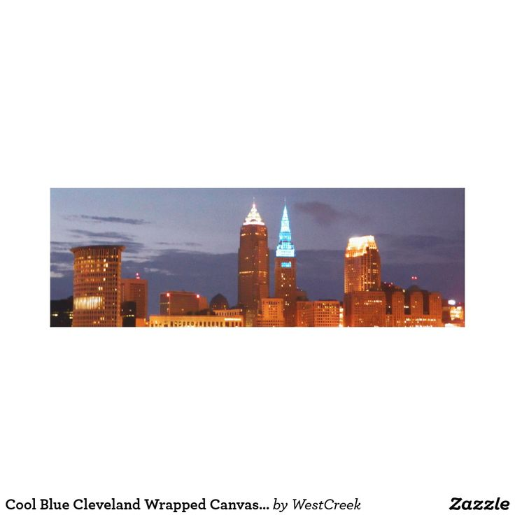 Cool Blue Cleveland Wrapped Canvas Print