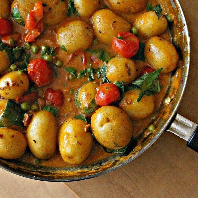 Coconut Potato Curry with Basil and Cashews - Vegan