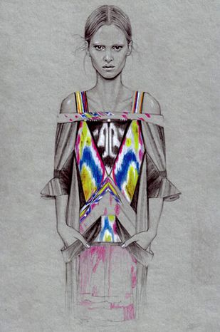 I like how Cedric Rivrain uses black and white on the model then uses bold colors for the garments. This really emphasizes the garments and grabs the viewers attention.