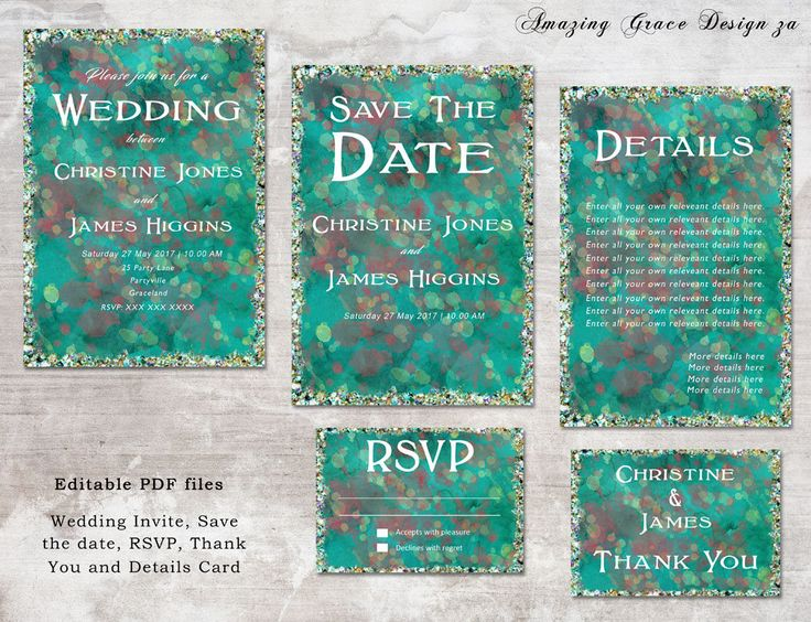 Wedding suite INSTANT DOWNLOAD | Editable Templates | Splatter Glitter | Wedding Invite, rsvp, save the date, invite  Glitter Collection PDF by AmazingGraceDesignZA on Etsy