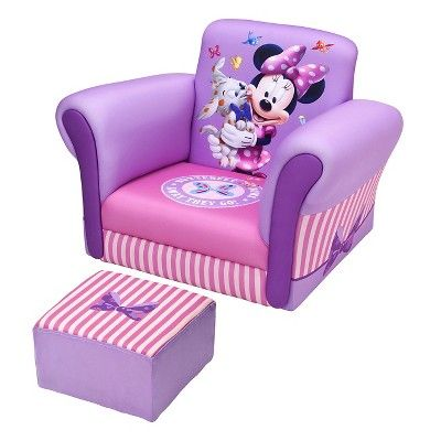 Upholstered Chair with Ottoman Disney Minnie Mouse - Delta Children, Pink