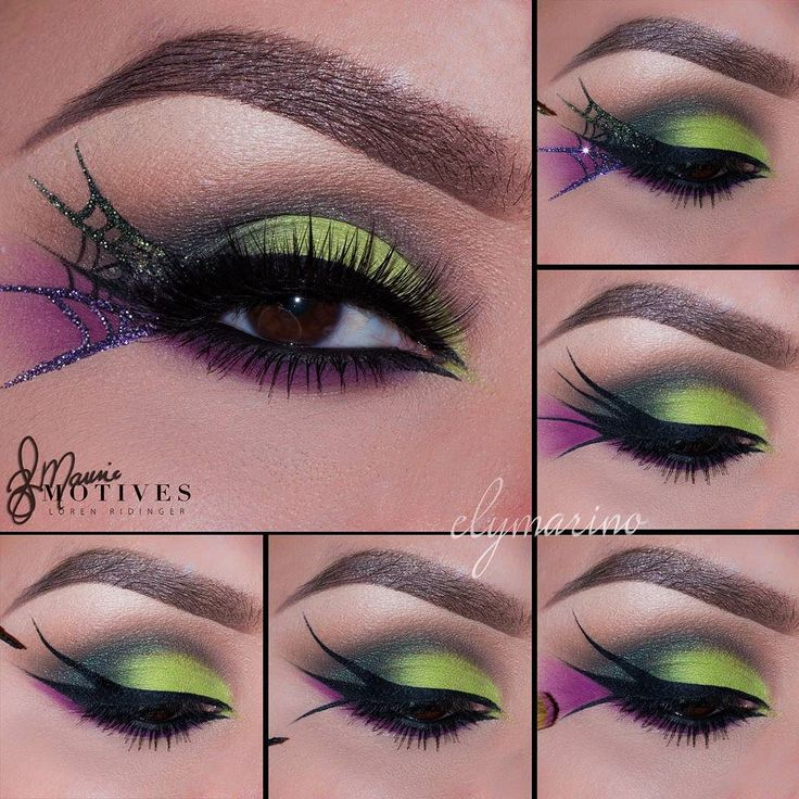 "10 more days until #Halloween  Who is up for some inspiration?  Let's start with this glammy spider web eye look by our #MotivesMaven @elymarino  ______________________  1.Begin by applying your winged liner as usual using ""LBD"" gel liner (this will be the your guide line! Begin creating your spider web by creating a line going upward toward the brow 2.Create another line from the outer corner of the eyes going downward 3.Taking ""Ecstasy"" shadow fill in between the bottom 2 lines 4.Create 2…"