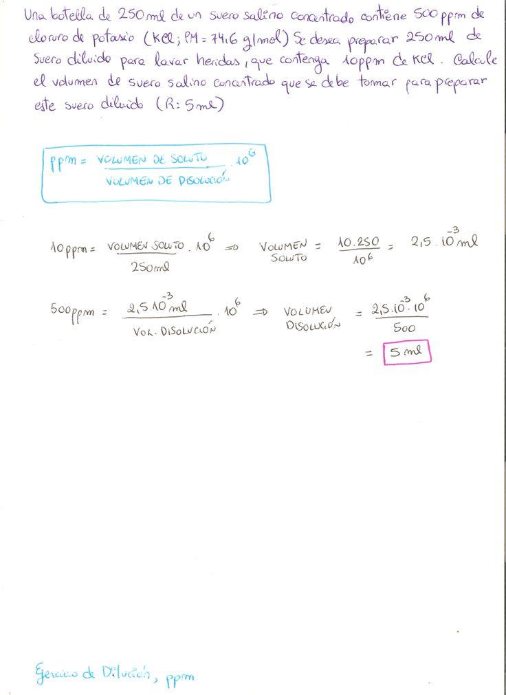 Ejercicio Resuelto De Diluciones Químicas Concentración En Partes Por Millón Ppm Math Math Equations