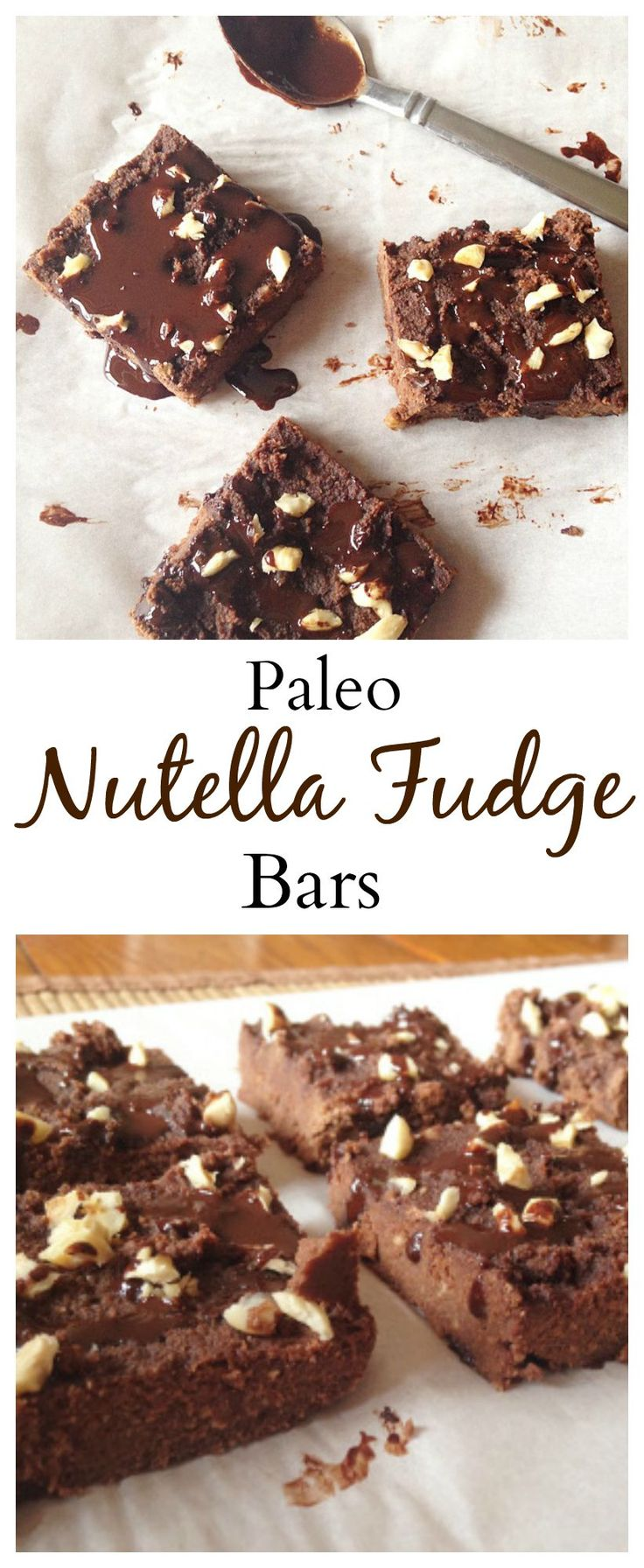"The blogger wrote.""These #paleo Nutella Fudge Bars are unbelivable! They taste exactly like a nutella and are dense and fugdey! YUM!"" #healthy #vegan"