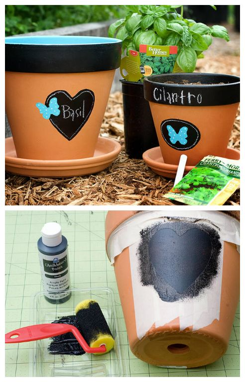Chalkboard Flowerpots| DIY Flowerpot I would like to grow some of my own herbs in cute flower pots that I can put on my porch; I can't grow a garden.  The chalkboard sides and rim would be awesome!