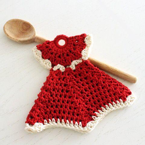 White Christmas Dress Potholder - Cottage Industry Shop.  Crochet dress potholder