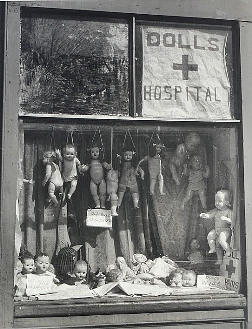 The Dolls Hospital by renowned Australian modernist photograph Maxwell Dupain, c. 1940s.