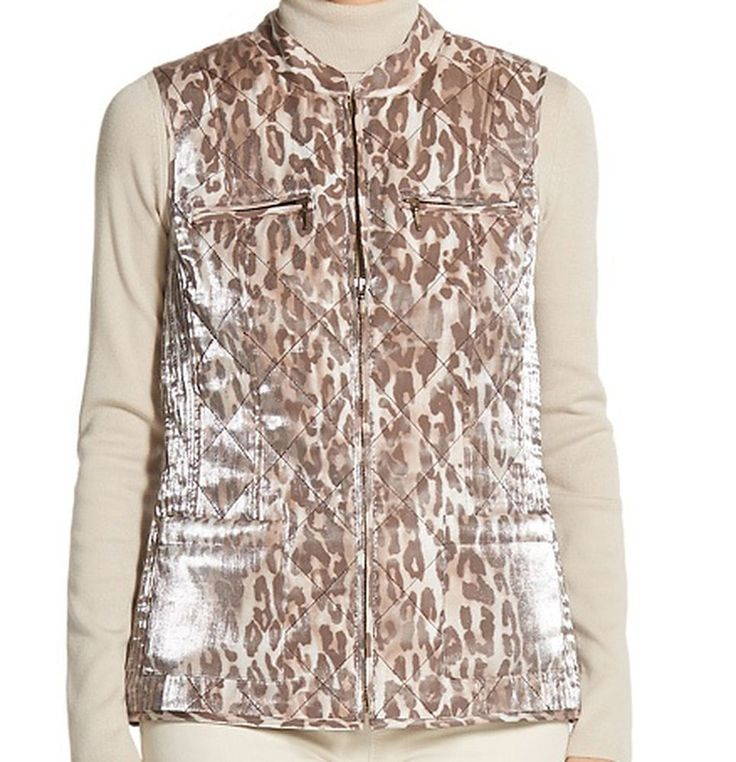 Chico's Vest Quilted Animal Print Zip Up Sleeveless Jacket Full Zip Front  Sz 1 #Chicos #Quilted