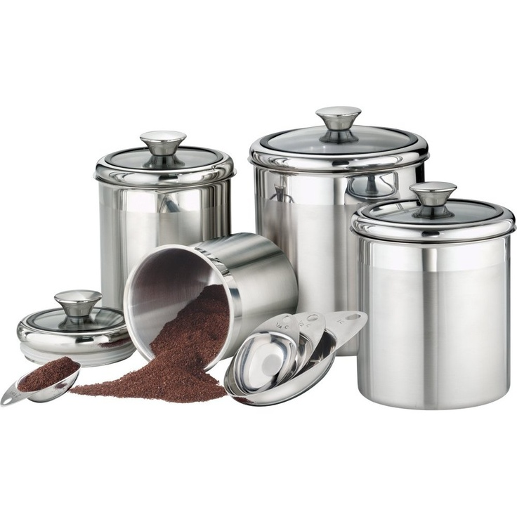 Good Tramontina Gourmet Stainless Steel Canister U0026 Scoops Set W/ Glass Lids