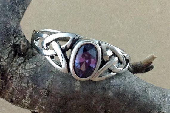 Amethyst Ring~Sterling Silver Celtic Amethyst Ring~Amethyst Silver Celtic Ring~February Birthstone~Birthstone Jewelry