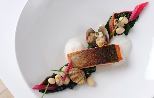 Sea trout with ruby chard and clams