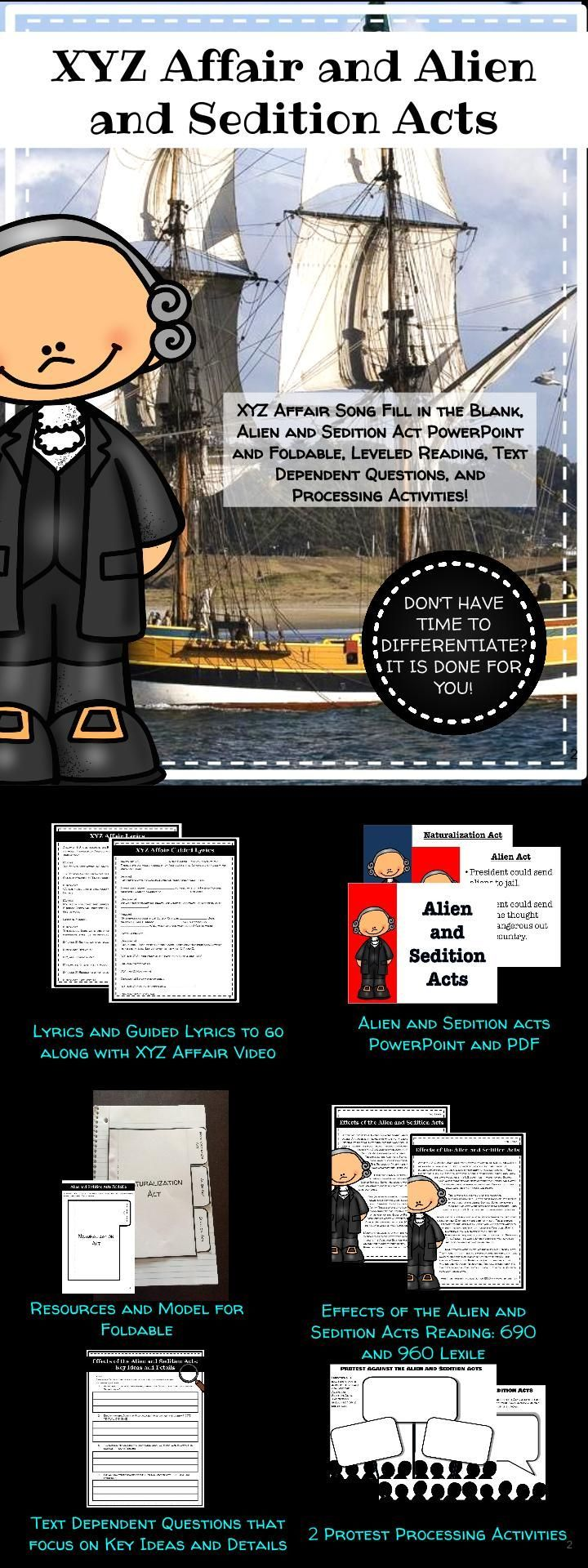 XYZ Affair and Alien and Sedition Acts Mini Unit Middle School Social Studies