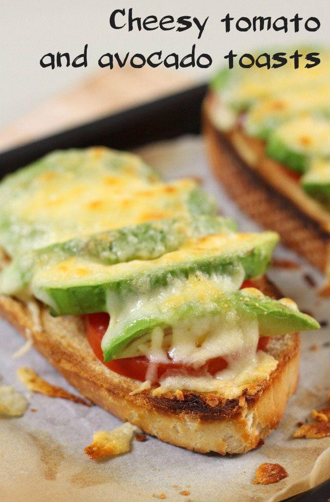 Cheesy tomato and avocado toasts