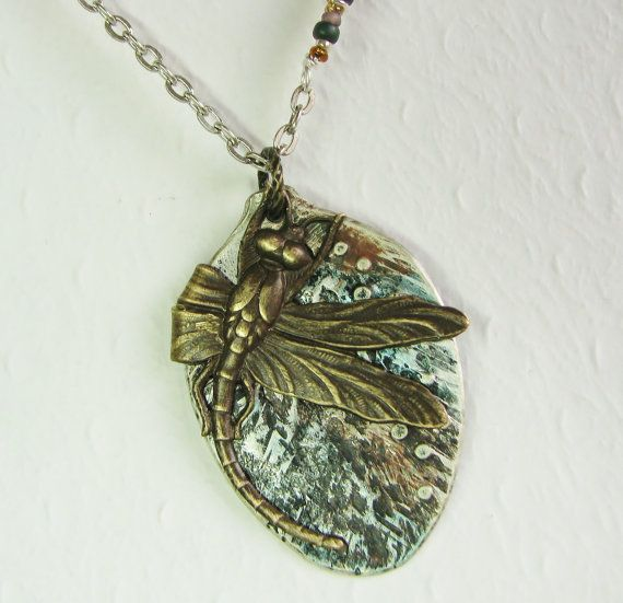 Dragonfly Spoon Necklace, Hammered, Flattened Spoon Pendant with Patina, Brass Dragonfly