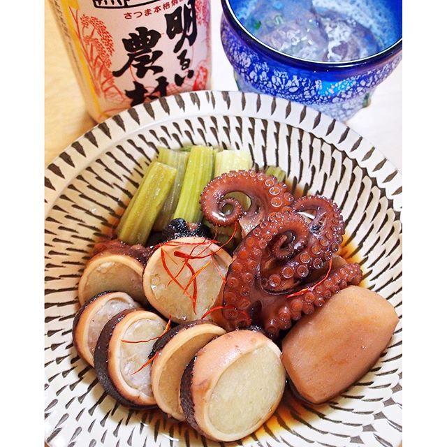 from_kitchen一晩寝かせたいいだこ煮つけ。こんないいだこ初めて食べました。絶品で箸がとまらない*(^o^)/* 有明海でとれたいいだこには九州の3年熟成赤芋焼酎に九州の皿を合わせて。合い過ぎて飲み過ぎ注意(^^;; #おうちごはん #いいだこ #若ごぼう #里芋 #肴 #酒 #明るい農村 #赤ボトル #読谷 #稲嶺盛吉 #小鹿田焼
