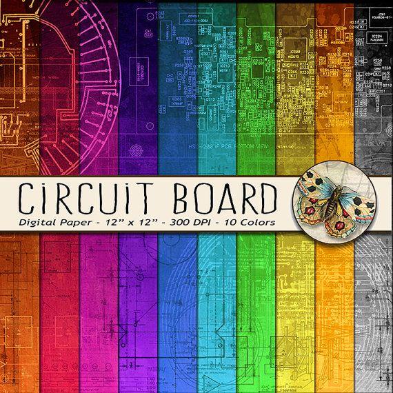 Circuit Board Digital Paper Schematics Digital by TheArtBoxDesigns
