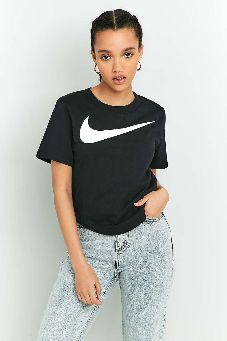 Nike - T-shirt court noir à logo virgule
