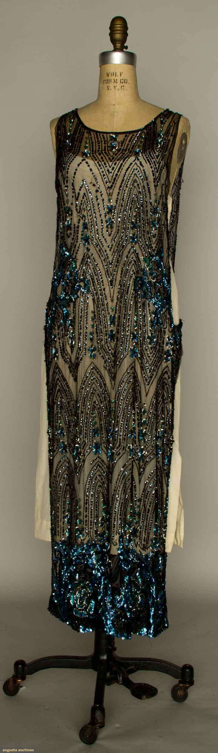 SEQUIN TABARD DRESS, EARLY 1920s Black net embroidered w/ blue & black sequins & black bugle beads. Front