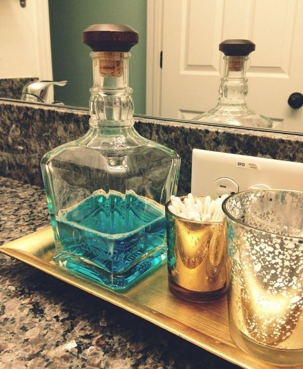 Pretty decanter for mouthwash and also a tray so maybe Zak will put things back on the tray instead of leaving them all over.