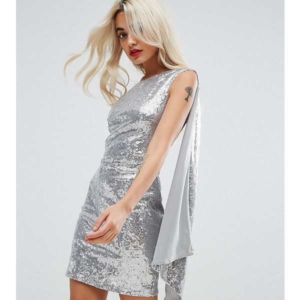 City Goddess Petite One Shoulder Sequin Mini Dress ($67) ❤ liked on Polyvore featuring dresses, petite, silver, one shoulder short dress, tall cocktail dresses, short sequin cocktail dresses, short sequin dress and short petite dresses