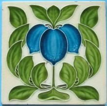 """Never seen a blue example of this Art Nouveau design from Alfred Meakin c1905/7 tile reference 246 in the reference book """"Art Nouveau Tiles with Style""""."""