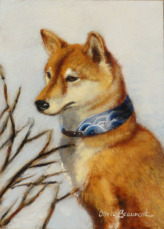 Shiba Inu Art - Original oil painting by Olivia Beaumont on Etsy, $650.00