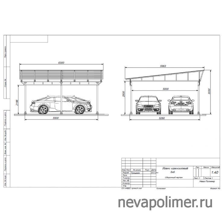 Навес односкатный для двух автомобилей - Нева-Полимер - заборы, металлические конструкции - 945-52-53