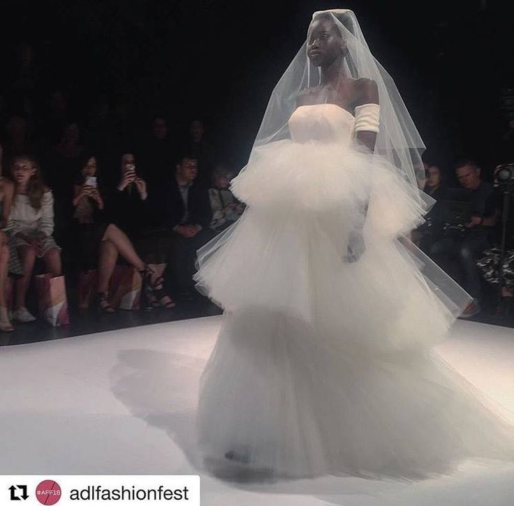 The Calèche Adelaide Fashion Festival Finale gown. Silk velvet bodice and armbands with a tiered tulle skirt and veil