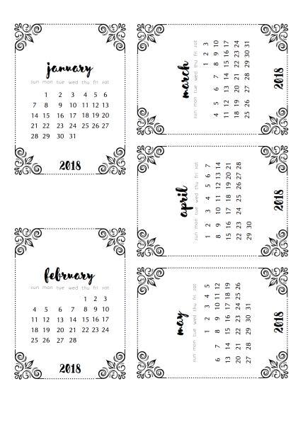 2018 calendars | black & white version | scrappystickyinkymess