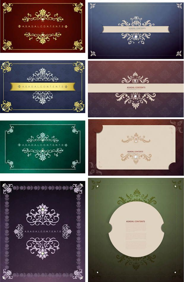 wedding card backgrounds vectors%0A   sets with   classic vector ornate frames cards with floral ornaments and  vintage patterns on the background