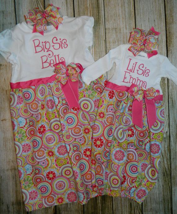Newborn Gown Sibling Sister Matching Outfits by PrettyLittleRose, $65.00