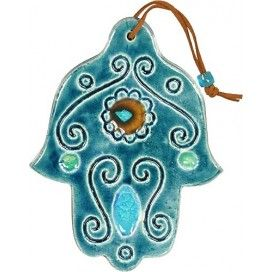 Blue Hamsa With Flower in the Palm