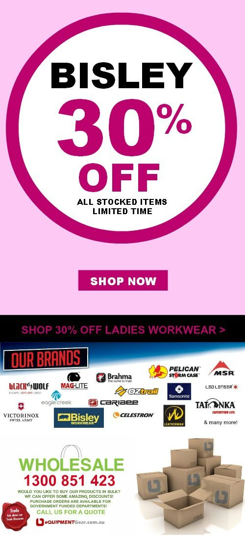JUNE 2014 SALE 30% OFF Bisley Workwear, Safetywear & Insect protection! Buy Now: www.equipmentgear.com.au/bisley/