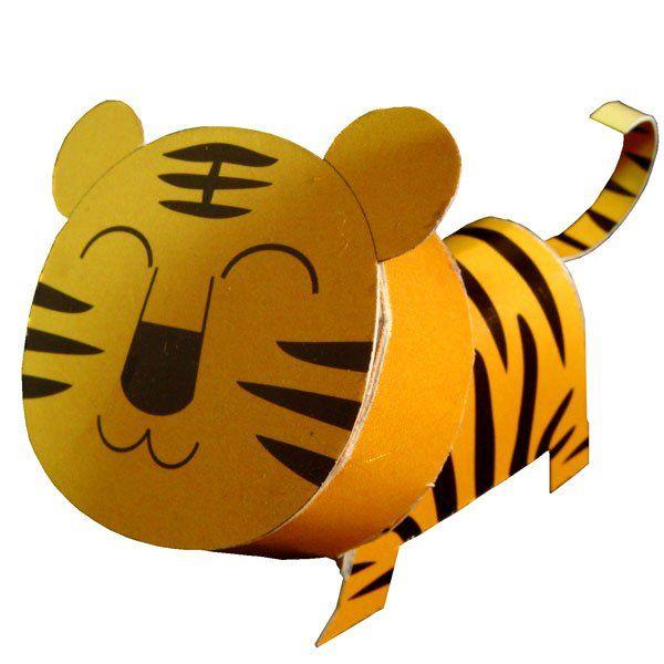 Papercraft postkaart tijger