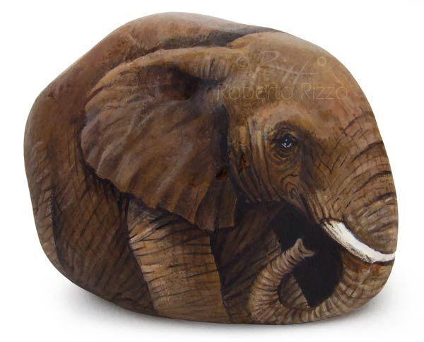 African elephant - acrylic on stone | Rock Painting Art by Roberto Rizzo | www.robertorizzo.com