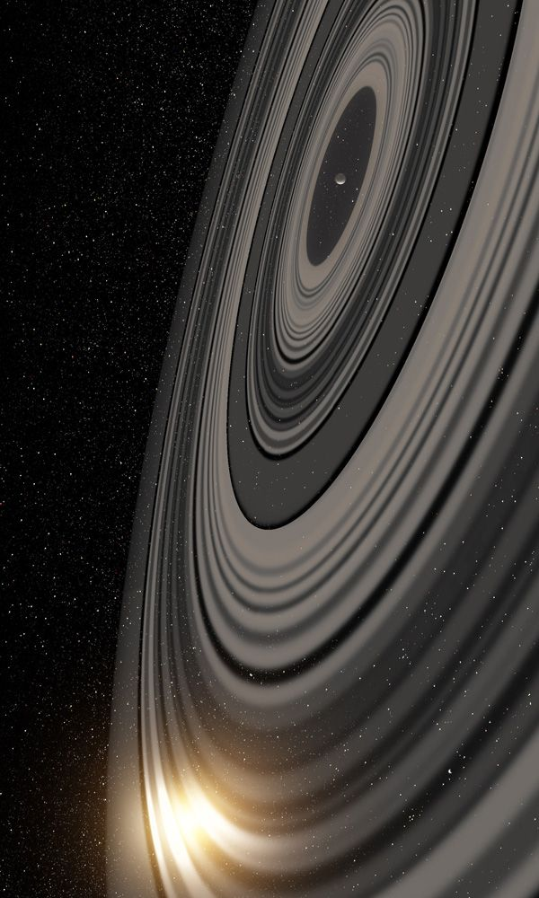 Gigantic Ring System Around J1407b Much Larger, Heavier Than Saturn's Astronomers at the Leiden Observatory, The Netherlands, and the University of Rochester, USA, have discovered that the ring system that they see eclipse the very young Sun-like star J1407 is of enormous proportions, much larger and heavier than the ring system of Saturn. The ring system – the first of its kind to be found outside our solar system – was discovered in 2012 by a team led by Rochester's Eric ...