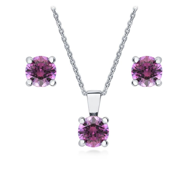 findout Rhodium Plated Amethyst Crystal Heart sterling Silver Necklace + earring set SEjTzBeg3
