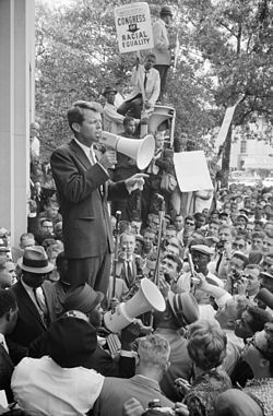 Robert Kennedy speaking to a civil rights crowd in front of the Justice Department on June 14, 1963.
