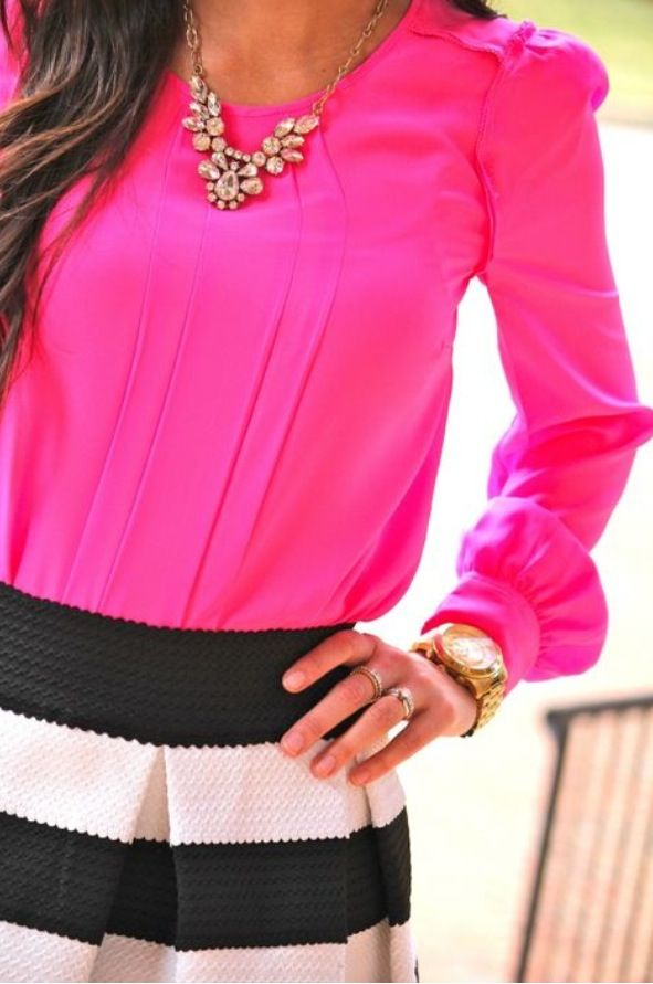 Hot pink and striped skirt