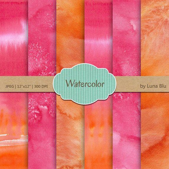 Watercolor Digital Paper: Watercolor Textures by Lunabludesign