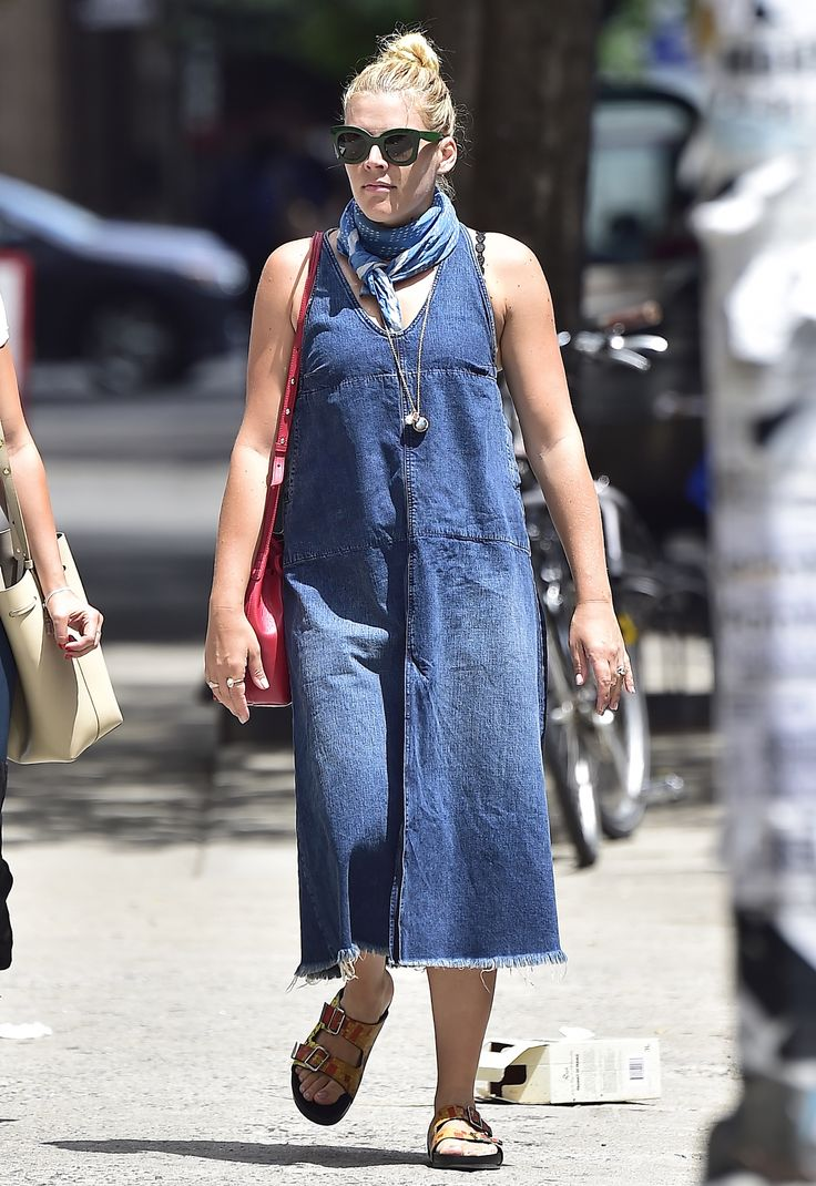 Flop: Busy Philipps looked frumpy in a potato sack-esque denim dress and Birkenstocks. (Photo by Alo Ceballos/GC Images)  via @AOL_Lifestyle Read more: https://www.aol.com/article/entertainment/2016/07/16/fab-or-flop-rita-oras-disco-dress-olivia-palermos-white-lace/21433273/?a_dgi=aolshare_pinterest#slide=3990459
