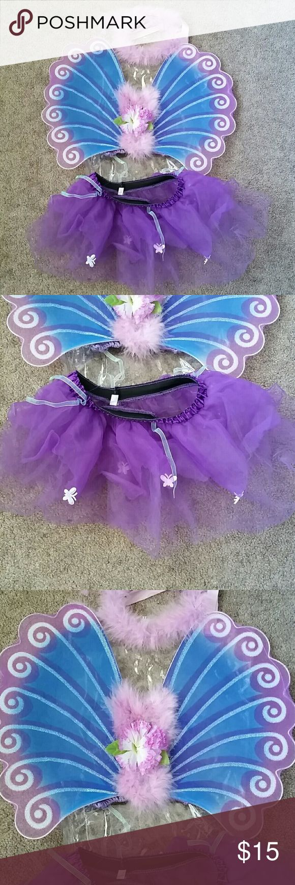 Peacock Wings & Tutu Small, wings & tutu with bag. Glitter wings & tulle tutu with butterfly's. I bundle! Costumes